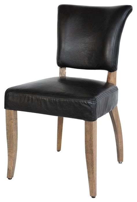 mimi dining chair saddle black leather weathered oak