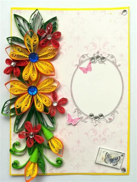 buy quilled flowers side design card quillingtreasurescom