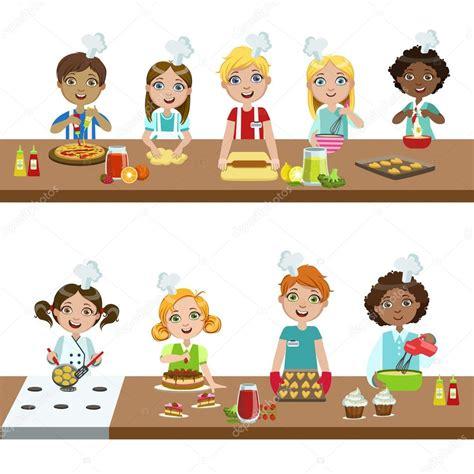 cours de cuisine enfants enfants dans les cours de cuisine image vectorielle topvectors 111407070
