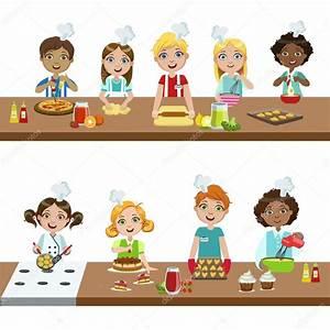 Enfants Dans Les Cours De Cuisine Image Vectorielle