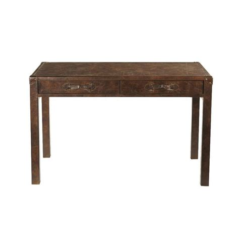 Leather and wood desk W 120cm Jules Verne   Maisons du Monde