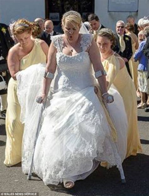 Carmarthen Woman Walks Down The Aisle With Broken Leg In
