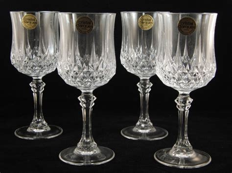 Genuine Lead Crystal 4 Longchamp Glasses Wine Glasses