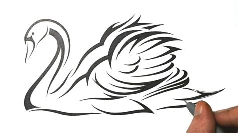 draw  swan tribal tattoo design style youtube