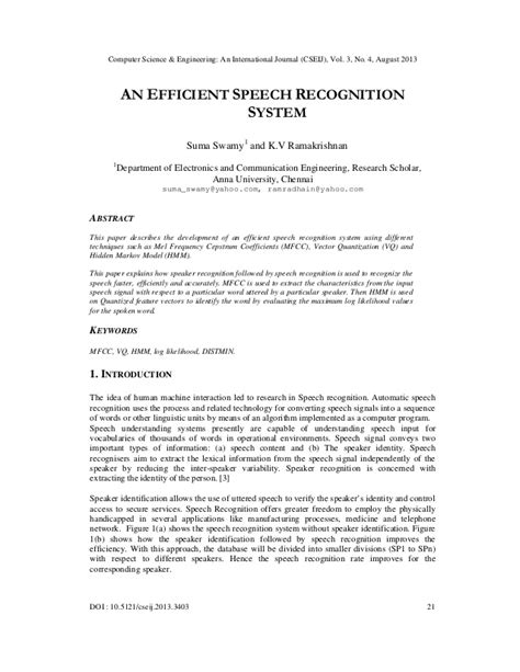 AN EFFICIENT SPEECH RECOGNITION SYSTEM