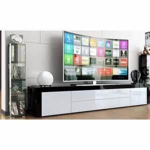 Meuble Tv Long : meuble tv bas et long blanc ~ Teatrodelosmanantiales.com Idées de Décoration