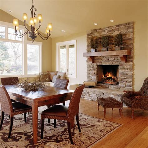 beautiful fireplace settings traditional dining room