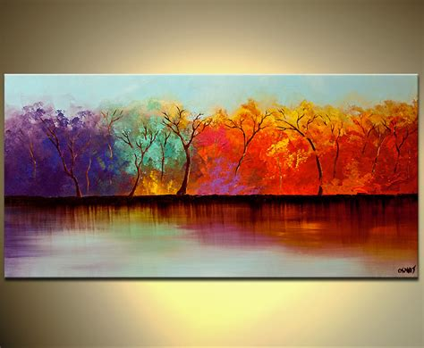 Buy Colorful Forest On River Bank Wall Decor #5965