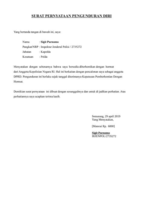contoh surat pengunduran diri organisasi karang taruna