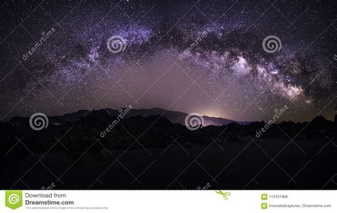 Milky Way Galaxy Over The Desert Stock Photo Image Of
