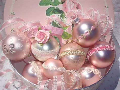 shabby chic victorian pink christmas bulbs with by