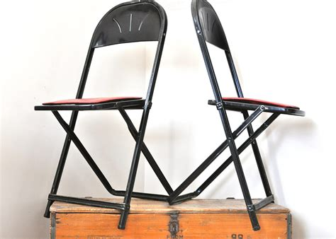 vintage pair metal folding chairs hden specialty products
