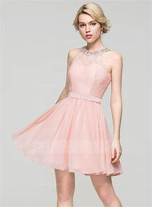 a line princess scoop neck short mini chiffon homecoming With robe de cocktail longue pour mariage