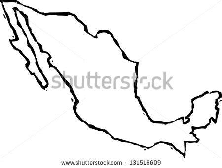black white vector illustration map mexico stock vector