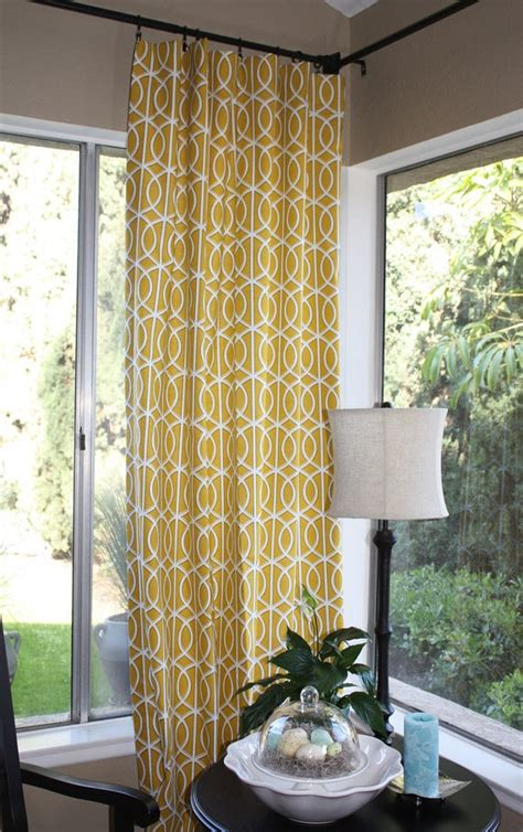 yellow  grey curtain panels  grommet drapes home