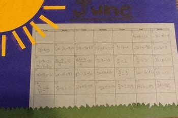 equation calendar project  cmb teachers pay teachers