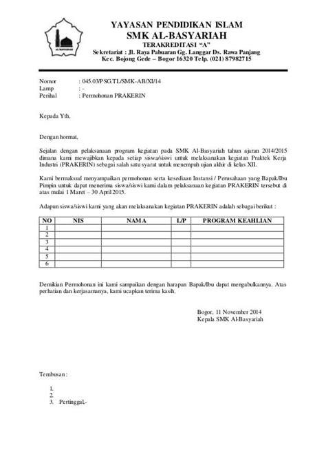contoh surat permohonan magang kerja terlengkap