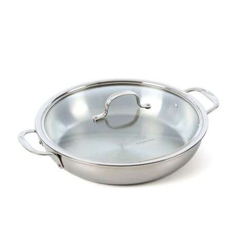 calphalon tri ply stainless steel  frying pan  lid