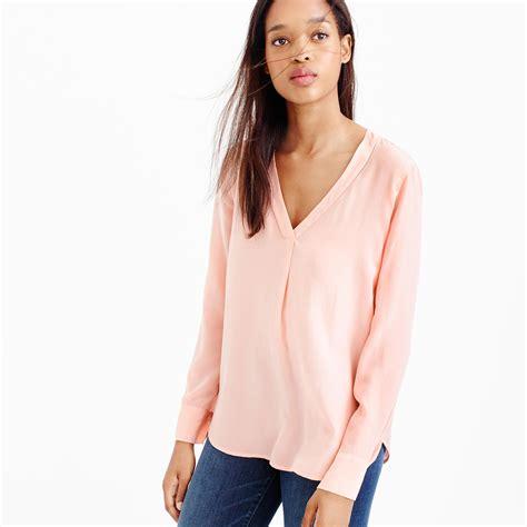jcrew blouses j crew silk drapey v neck blouse in pink dusty