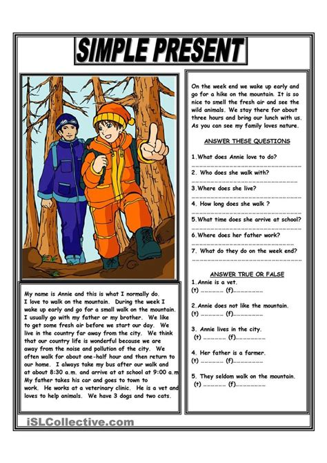 simple present reading comprehension text hhh