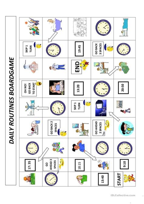daily routines  time boardgame worksheet  esl