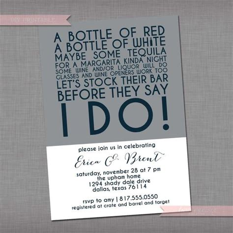 what is a stock the bar shower items similar to stock the bar invitation wedding bridal