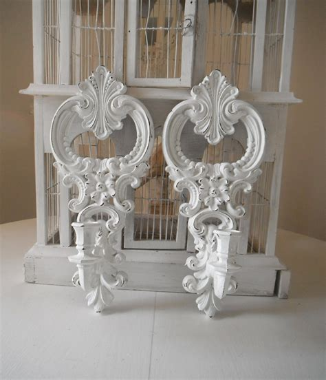 White Candle Sconces - white wall sconces ornate candle holders shabby chic wall