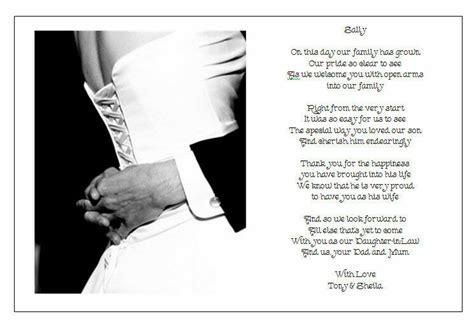 personalised wedding day poem gift  grooms parents
