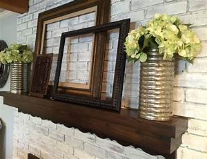 Whitewashed, Brick, Mantel, Decor, Empty, Frames, Metal, Vases, Hydrangeas