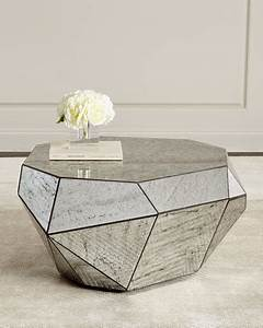 dimensional antiqued mirror coffee table With mirror and wood coffee table