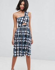 asos asos gingham one shoulder dress with cut outs With robe carreaux vichy