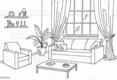 Living Sketch Illustration Interior Vector Graphic Background