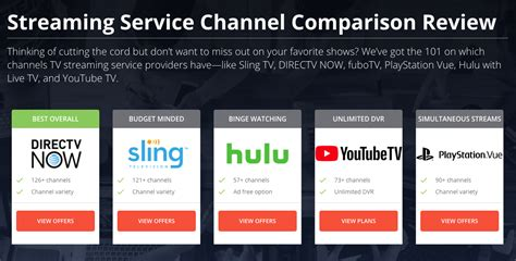 sling  directv   ps vue  hulu tv channel