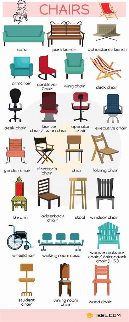 Furniture Vocabulary Chairs Names Types English Bedroom