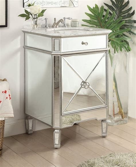 Mirrored Vanities For Bathroom by 24 Mirror Reflection Silver Asger Powder Room Bathroom