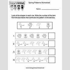 Spring Patterns Worksheet  Free Kindergarten Seasonal Worksheet For Kids