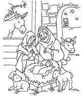 Jesus Coloring Christ Nativity Scenery sketch template