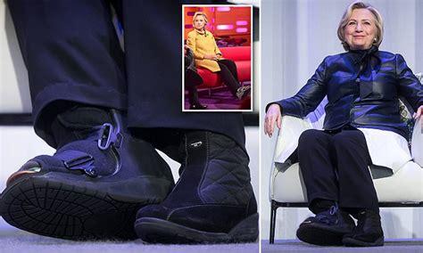 hillary clinton wears surgical boot months  toe break