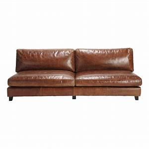 canape vintage 2 3 places en cuir marron nevada maisons With tapis de gym avec canapé 2 places cuir vintage