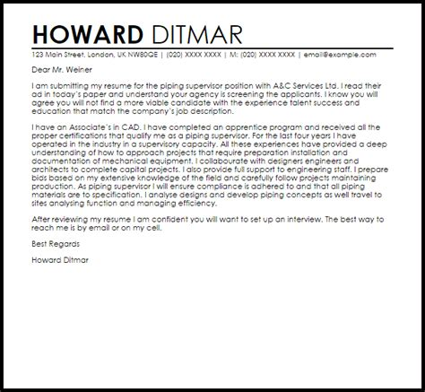 piping supervisor cover letter sample cover letter templates examples