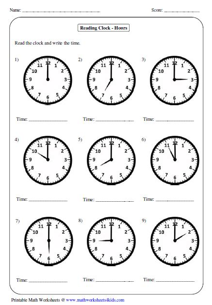 great worksheets for telling time for year 1 2