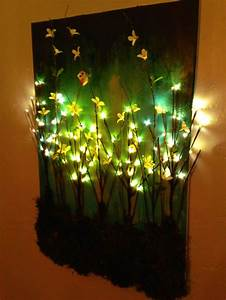 made this diy light up branches on painted canvas With lighted wall art