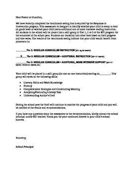 response  intervention letter  parents reading groups tpt