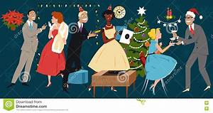 Retro Christmas party stock vector. Image of year, people ...