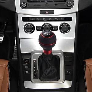 5speed Black Red Leather Manual Gear Car Shift Knob
