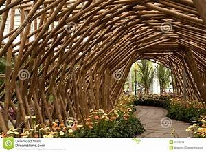 Bamboo Tunnel With Flower Royalty Free Stock Image