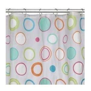 new splash circles polka dots shower curtain blue green