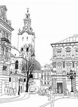 Building Coloring Sketch Drawing Drawings sketch template
