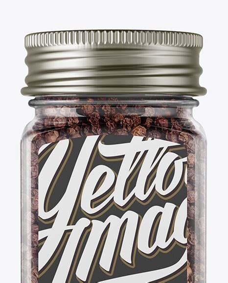 Yellow… jar with box packaging free mockup in a front scene which includes a 250ml glass jar. Spice Jar with Black Pepper Mockup - Front View in Jar ...