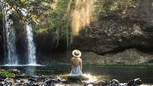 girl, is, sitting, alone, on, rock, seeing, waterfall, hd, alone, wallpapers